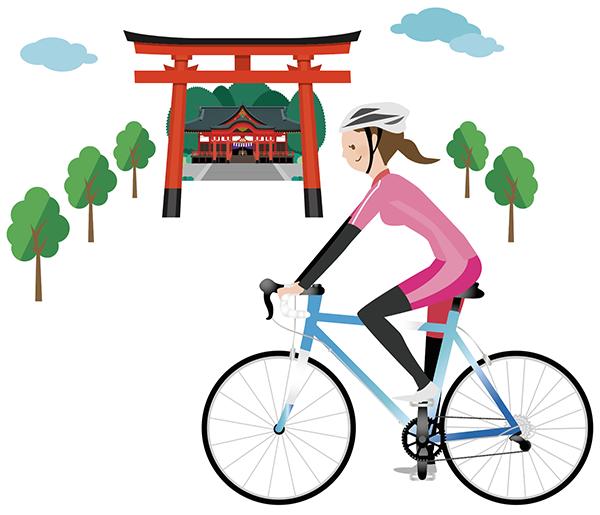 自転車と神社メインイラスト